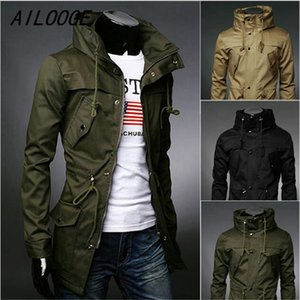 Männlich Trenchcoat Art und Weise beiläufige Art-dünne Mittel lange Mode Oberbekleidung Graben für Männer mit 3 Farben Asiatische Größe