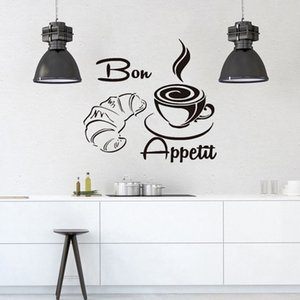 Bon Appetit Coffee Croissant Vinyl Sticker For Kitchen Restaurant Dining Hall,Waterproof Wallpaper Mdern Wall Decals Home Decor