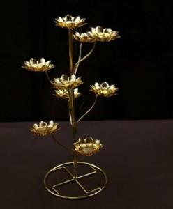 Portacandele in loto a forma di scala abbinato al tealight burro candele lampada materiale in acciaio inossidabile per Buddha pregare forniture buddiste