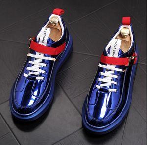 Heißer Verkauf-Trendsetter Glänzender Charme Beiläufige PU-Schuhe Ebenen Mann Entwerfer-hohe Oberseitenpunkmüßiggänger beschuht Plattformschuhe Brettschuh zapatos