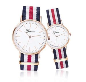 Мода Женева Часы Vintage нейлон Canva пояса Часы ЖЕНЕВА Пары кварцевые наручные часы женские платье наручные часы браслет часы 2019