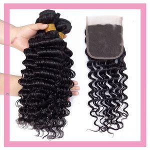 Perulu Vizon İnsan Saç 3 Paketler ile 4X4 Dantel Kapatma Derin Dalga Kıvırcık 4 adet / lot Saç Uzantıları 8-28inch