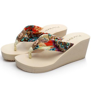 Bohemia style 2019 new fashion holiday Beach Sandals Wedge Platform Thongs Slippers Flip Flops dropshipping 7cm heel shoes