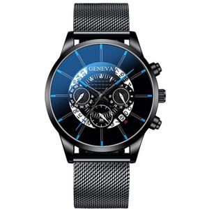 2020 para hombre Relojes de moda Relojes de acero inoxidable de malla Band cuarzo del calendario ocasionales de los deportes de pulsera Horas reloj del reloj del reloj de Ginebra