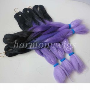 L Kanekalon Jumbo Braid Hair 20inch 100g Black +Dark Purple +Light Purple Ombre Three Tone Color Xpression Synthetic Braiding Extension