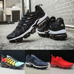 Nike Air VaporMax TN Plus Running shoes Triple Negro Blanco Foto de Sunset Blue Wolf Grey EE. UU. Zapatos de diseñador Zapatillas deportivas Entrenadores 36-45 sin caja