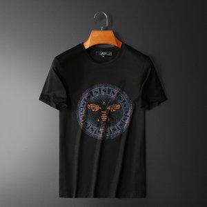 T-shirt europei, gli uomini 2020 manica corta Galaxian sette strass colore mercerizzato modo del cotone LYZX