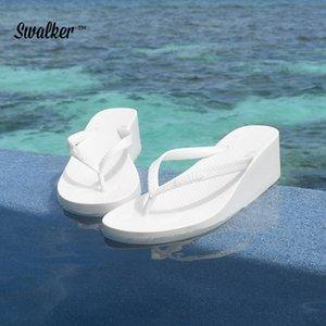 Swalker Damenschuhe Hausschuhe Mode Strand High heel Flip Flops Damen Sommer flache Zapfen Sandalen Dusche Slides
