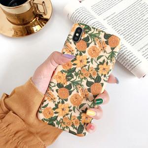 Caja colorida del teléfono de la hoja floral de la flor para Iphone 8 más la caja de 6 6S 7 X XS Max XR para Iphone 11 11Pro Max suave de la contraportada