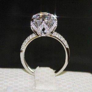 Victoria Wieck monili di lusso Solitaire 3ct Topaz bianco, argento sterling 925 regalo Lotus Flower CZ Diamond Ring Wedding Band Women Size 5-11