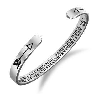 Moda 6 milímetros personalizado Pulseira de Punho lembrar cuja filha está gravado presentes Titanium Aço Bangle para Mulheres Meninas