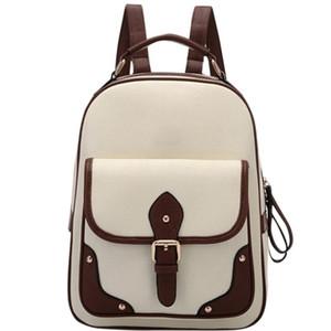 Las mujeres mochila chica retro de la PU Mochila Moda Todo-fósforo de mochila de gran capacidad Casual bolsas de viaje para las mujeres