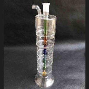 6 слоев Фильтр для кальяна Стеклянные водяные бонги 9,8 дюйма Рожковая масляная горелка Курительная трубка Труба Нефтяные вышки Perc Recycler Bubbler Инструменты Аксессуары