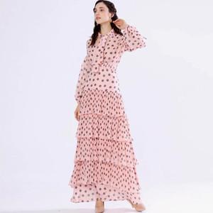 Women's Runway Dress Bow Collar Long Sleeves Floral Printed High Street Tiered Ruffles Elegant Casual Maxi Dress