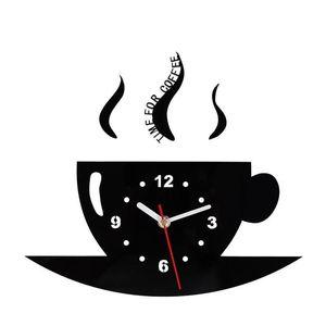 Чашка кофе Настенные Часы Зеркало Бардиан Часы Украсить Односторонний Круглый Гостиная Кухонные Принадлежности Металлический Указатель Творческий 19ksC1