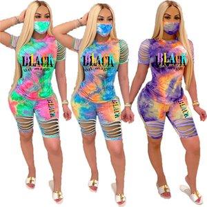 Menina negra Magic Women's Outfits Tie-Dye Broken Hole Manga Curta T Shirt Top Shorts Set 2 Pcs Tracksuit Roupas D6805