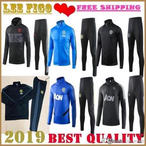 En Yeni Manchester futbol ceket Eğitim elbise # Pogba Lindelof RASHFORD # 19-20 MAN UTD futbol eşofman ceket takım elbise SIZE: S-XXL