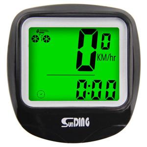 Mostra SUNDING Bike tachimetro del calcolatore Wire impermeabile della bicicletta Contachilometri ciclocomputer multifunzione LCD retro-Light