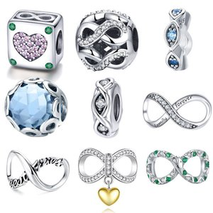 Cheap BISAER 925 Sterling Silver Infinite Charms Infinity Beads Fit Charms Silver 925 Original Bracelet Women Beads Jewelry Making