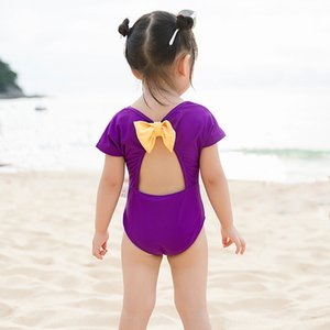 2020 ins baby girl one-piece bow lovely girl swimsuit hot spring swimsuit
