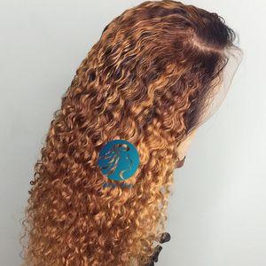 Profundo 13x6 peruca dianteira do laço frontal peruca Preplucked bebê Mel Cabelo Louro Ombre Curly cabelo humano Glueless brasileira Encerramento Wig Mulheres Preto Para