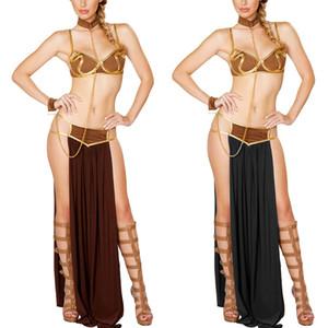 Wholesale-2017 Sexy Новая мода Карнавал женщин Cosplay партии Хэллоуин костюмы Sexy принцесса Лея ведомого костюма бюстгальтер + юбка черный