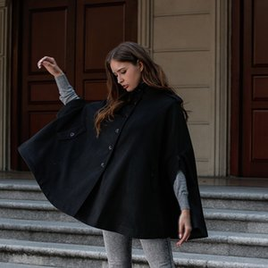 Shengyi Real Shot European and American 2020 Autumn and Winter Women's Coat New Woolen Coat Cape Shawl Cropped Jacket