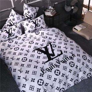 Ropa de cama de algodón las fuentes adultas de cama Juego de cama Carta flor funda nórdica cubierta del edredón Breve Ropa de cama Manta