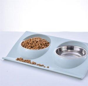 cuenco de perro gato mascota alimentador de plástico al por mayor PP y acero inoxidable recipiente para perros de material antideslizante multifuncional pet bowl 37,5 * 24 * 7.5cm