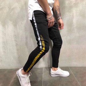 Nuevas camisas de los pantalones vaqueros para hombre estilista flaco rasgado amarillo rayas rojo pantalones para hombre de estiramiento delgados del motorista Jeans Hip Hop Pantalones Casual