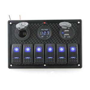CAR 6Gang LED Car Switch Panel Rocker Dual USB Charger Socket Cigaretter Lighter Voltmeter 3.1A For Boat Marine