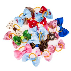 20Pcs Cute Ribbon Pet Grooming Accessories Handmade Small Dog Cat Hair Bows With Elastic Rubber Band Mix Color