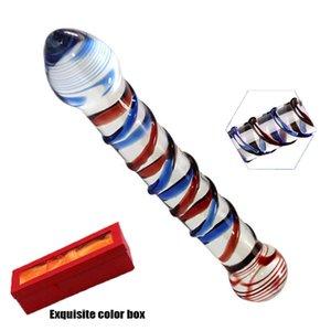 G bitmiş yapay penis cam penis Y200421 renkli başlı kristal sahte pyrex anal oyuncaklar fiş yeni stimülatörler popo seks spot kadın için çift ptjju