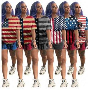 أمريكا USA العلم النساء رياضية النجوم والمشارب طباعة تيز تي شيرت + السراويل مجموعات البدلة العلامة التجارية الرياضة قطعتين تتسابق D61904