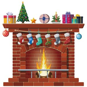 Materiali 1pc Christmas Fireplace decorazione della parete di adesivi decorativi delle decalcomanie Arte Murales partito di festa per la casa