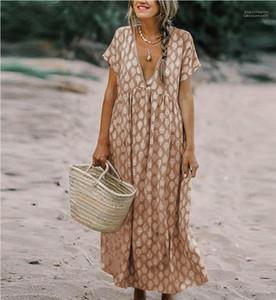 휴일 섹시한 의류 여름 폴카 도트 여성 드레스 여성 V 넥 반소매 패션 디자이너 드레스 캐주얼 여성