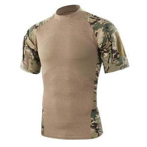 Erkekler Yaz Açık Yürüyüş Kamp T-Shirt Taktik Ordu Yeşil Spor Tees Kısa Kollu Kamuflaj T-Shirt Ücretsiz Nakliye