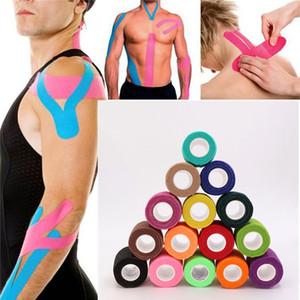 Stokta var ! 5 Boyutları Kinesiyoloji Teyp Atletik Bant Spor Kurtarma Teyp Çemberleme Gym Fitness Tenis Koşu Diz Muscle Koruyucu Makas