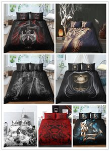 Комплект постельных принадлежностей черный череп Хэллоуин стиль простыня королева король двуспальная кровать постельное белье череп пододеяльник набор