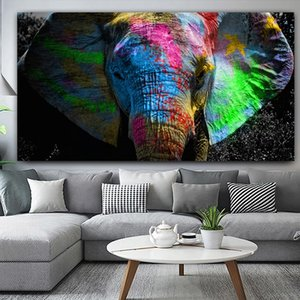 Modern Abstract Colorful Elephant Animal Oil Painting Canvas Art Wall Pictures for For Living Room Decoration Nordic Poster & Prints