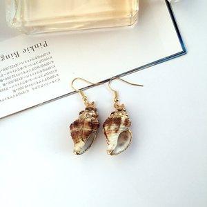 Богемная морская звезда SeaShell Серьги-гвоздики Sea Snail Dangle Серьги Набор для женщин и девочек Набор для чувствительных ушей Простые шикарные украшения