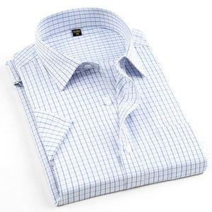 Sommer neue 2019 männer plaid formelle kleidung shirts hohe qualität soziale kurzarm mit tasche bügelfreie business men casual shirt