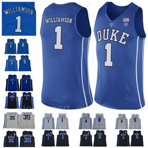 NCAA Duke Blue Devils 1 Maillot Zion Williamson 5 RJ Barrett 2 Cam Reddish University Bleu Noir Blanc Maillots de Basketball Universitaires Cousus