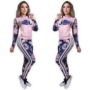 J2143 europäischen und amerikanischen grenzüberschreitenden Frauen Kleidung der Frauen gedruckten Freizeitsport zweiteiliger Anzug neuen Stil Fleck