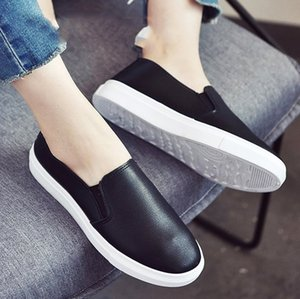 Women Casual Slip Shoes White On Flats Outsole Sneaker Soft Comfortable Breathable Round Black Toe Keari