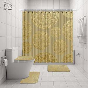 NYAA 4 Pcs Gold Texture Shower Curtain Pedestal Rug Lid Toilet Cover Mat Bath Mat Set For Bathroom Decor