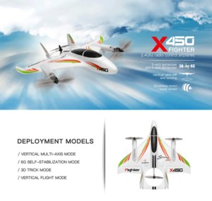 WLtoys XK X450 2.4G 6CH 3D 6G RC Airplane Brushless Motor Vertical Take-off LED Light RC Glider Fixed Wing RC Plane Aircraft RTF