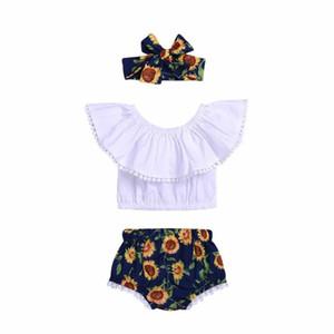 여름 3PCS 아기 소녀 옷 Tassels 오프 숄더 탱크 탑 + 꽃 바지 반바지 Bloomers + 머리띠 Rose Sunflower Outfits