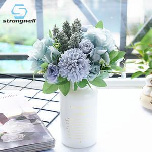زهرة الاصطناعي Strongwell اليابانية الكوبية روز بانش وهمية زهرة العرض الزفاف باقة الزفاف الشمال الديكور المنزلي