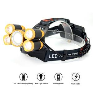 Bright LED Lampe frontale T6 + 4 X Q5 avec LED 5 lumières de plein air Pêche Camping Randonnée étanche Lampe torche phare tête